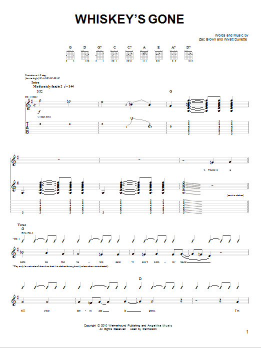 Tablature guitare Whiskey's Gone de Zac Brown Band - Tablature guitare facile