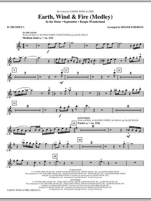 Earth, Wind & Fire (Medley) - Bb Trumpet 1 (Choir Instrumental Pak)
