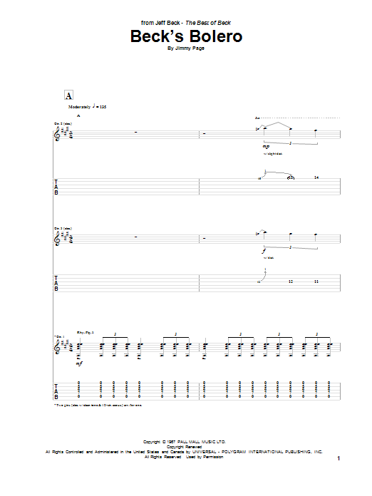 Tablature guitare Beck's Bolero de Jeff Beck - Tablature Guitare