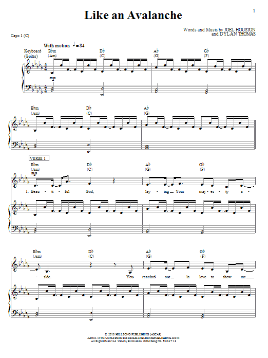Like An Avalanche (Piano, Vocal & Guitar (Right-Hand Melody))