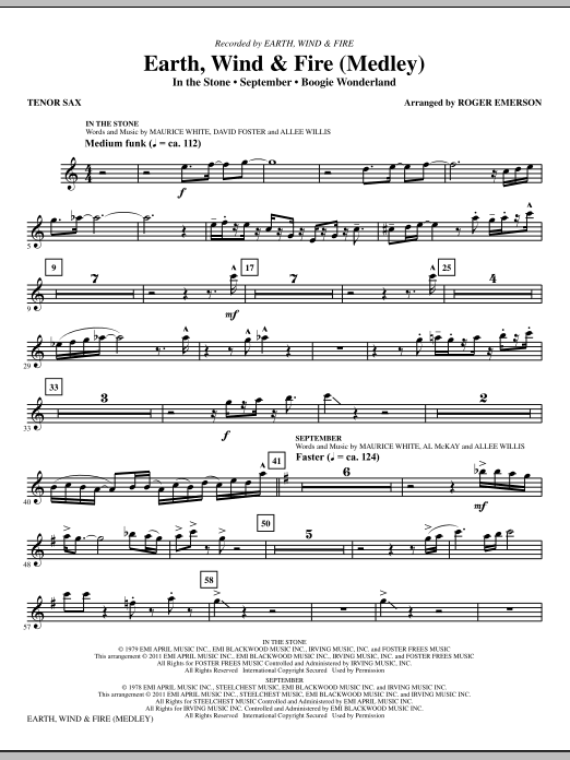 Earth, Wind and Fire (Medley) (complete set of parts) sheet music for orchestra/band (chamber ensemble) by Roger Emerson and Earth, Wind & Fire. Score Image Preview.