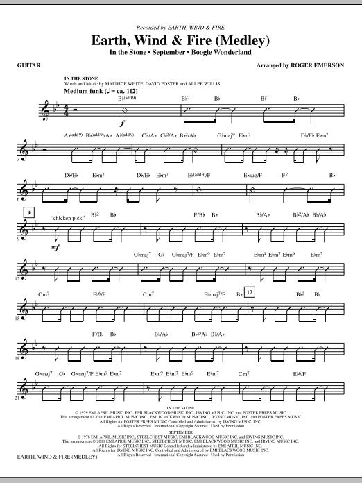 Earth, Wind & Fire (Medley) - Guitar (Choir Instrumental Pak)