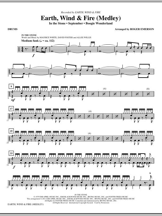 Earth, Wind & Fire (Medley) - Drums (Choir Instrumental Pak)