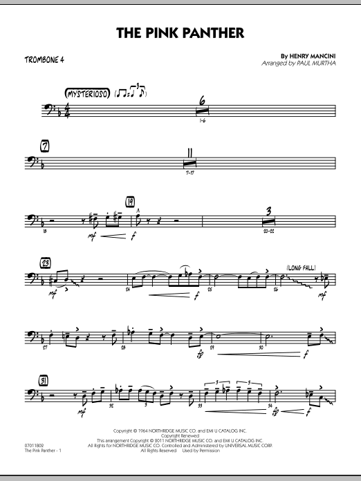 The Pink Panther - Trombone 4 (Jazz Ensemble)