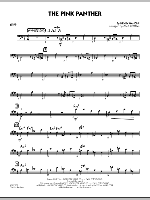 The Pink Panther - Bass (Jazz Ensemble)