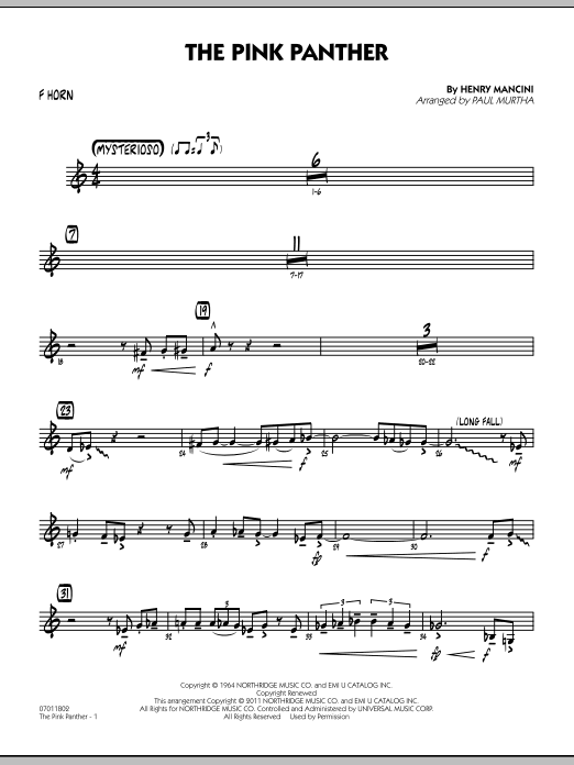 The Pink Panther - F Horn (Jazz Ensemble)