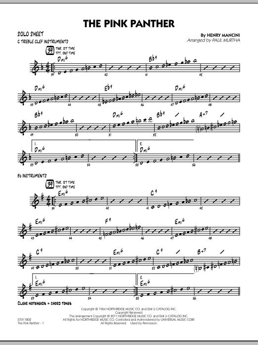 The Pink Panther - Solo Sheet (Jazz Ensemble)
