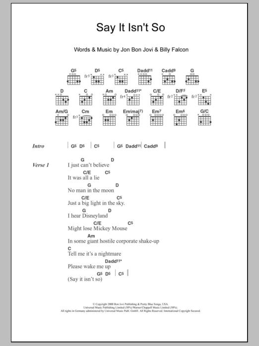 Say It Isn't So Sheet Music