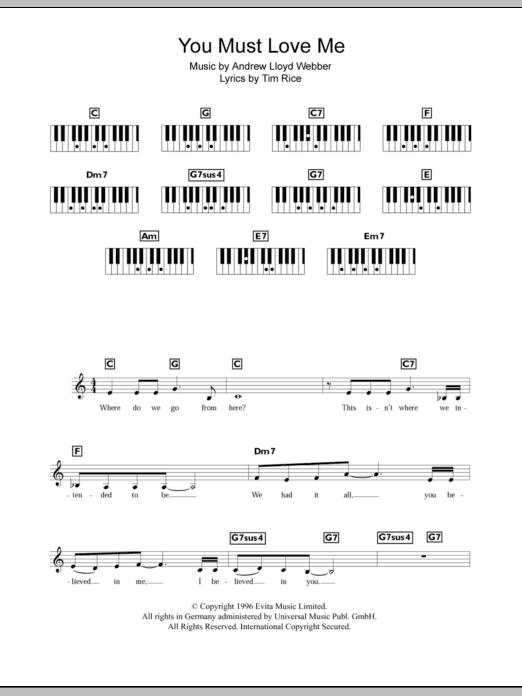 You Must Love Me Sheet Music Direct