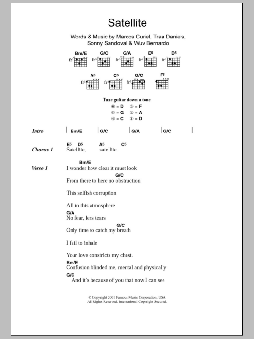 Satellite by P.O.D. (Payable On Death) - Guitar Chords/Lyrics ...