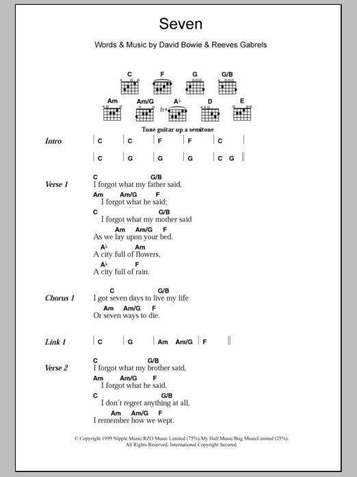Seven By David Bowie Guitar Chordslyrics Guitar Instructor