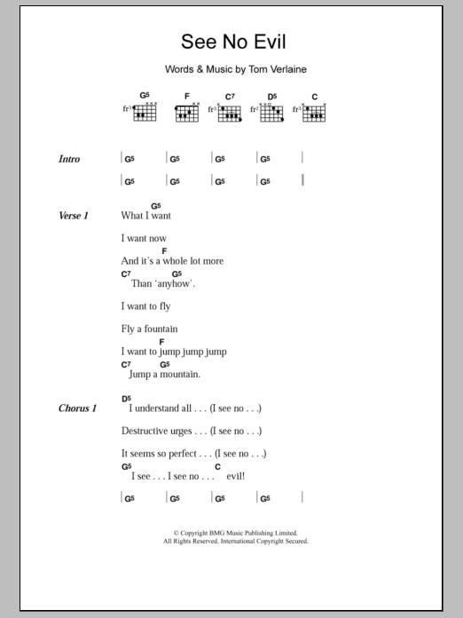 See No Evil Sheet Music
