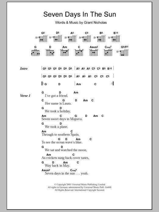 Seven Days In The Sun Sheet Music