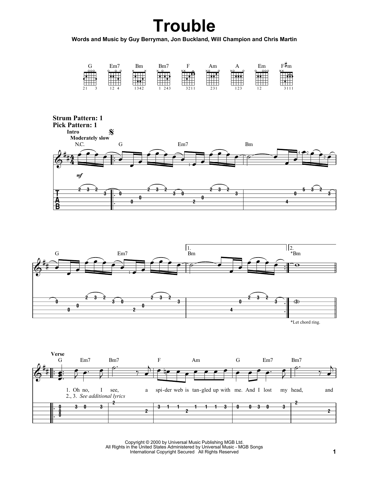 Tablature guitare Trouble de Coldplay - Tablature guitare facile