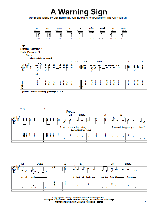 A Warning Sign (Easy Guitar Tab)