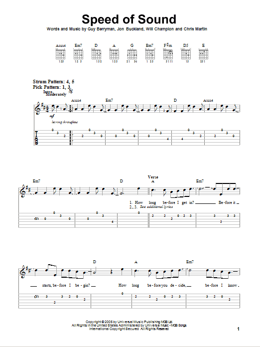 Tablature guitare Speed Of Sound de Coldplay - Tablature guitare facile