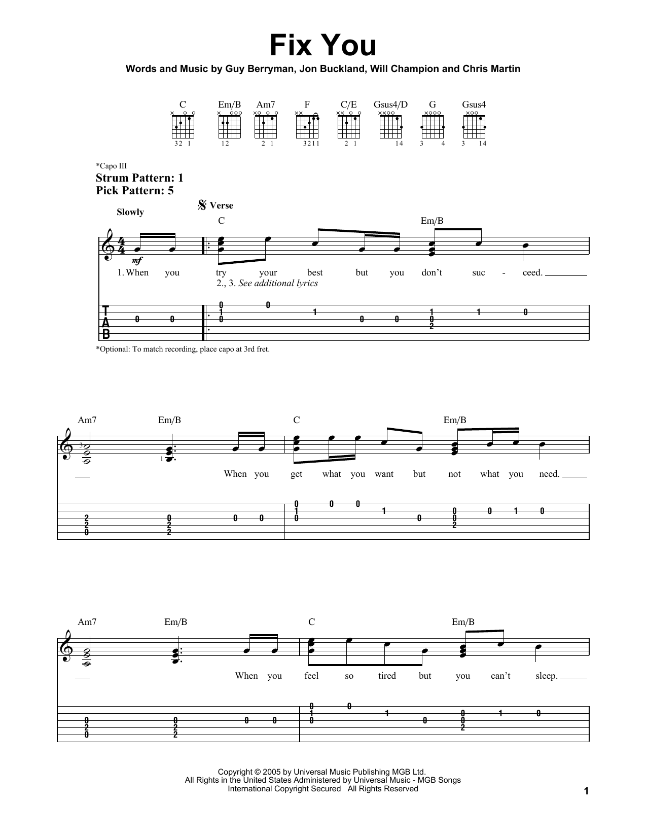 Fix You sheet music by Coldplay (Easy Guitar Tab u2013 80431)