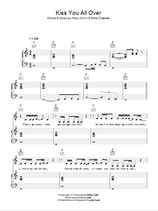 Kiss You All Over Sheet Music