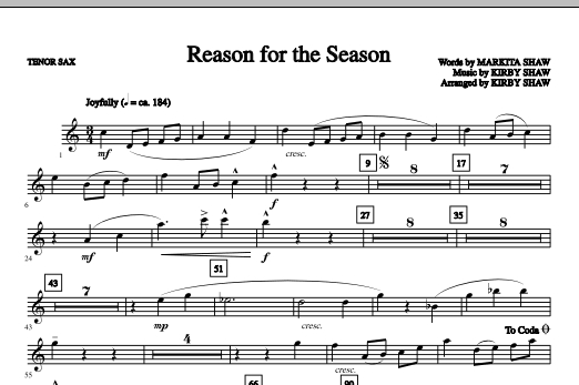 Reason For The Season - Tenor Sax Sheet Music