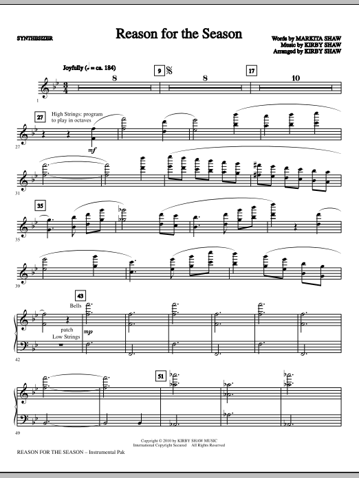 Reason For The Season - Synthesizer Sheet Music