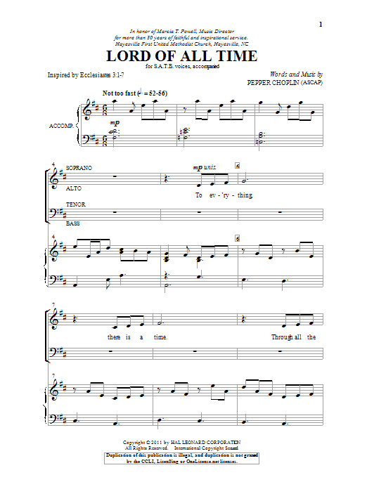 Lord Of All Time (SATB Choir)