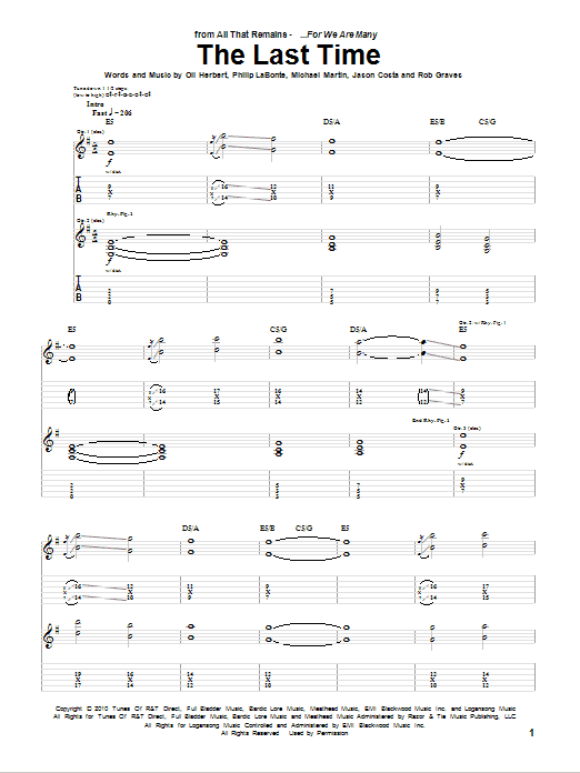 The Last Time Sheet Music
