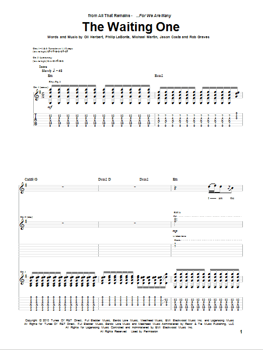 Tablature guitare The Waiting One de All That Remains - Tablature Guitare