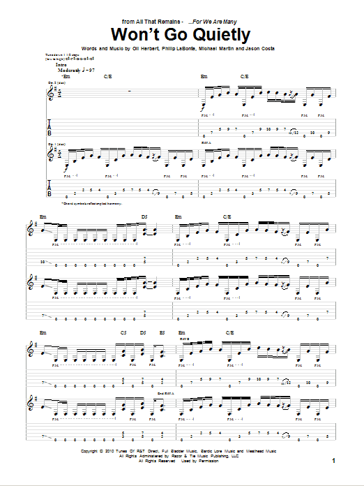 Won't Go Quietly (Guitar Tab)