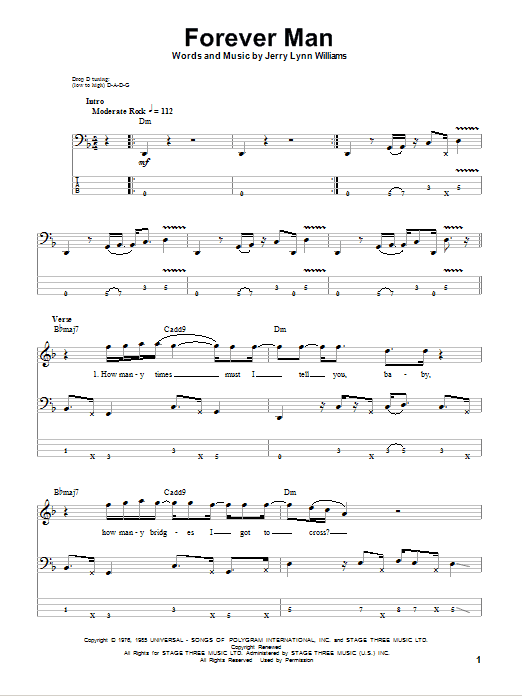 Forever Man (Bass Guitar Tab)
