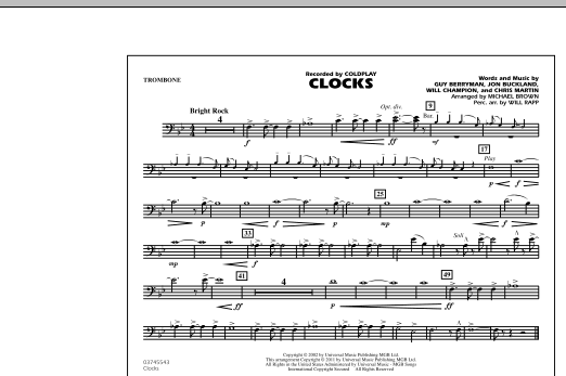 Clocks - Trombone (Marching Band)