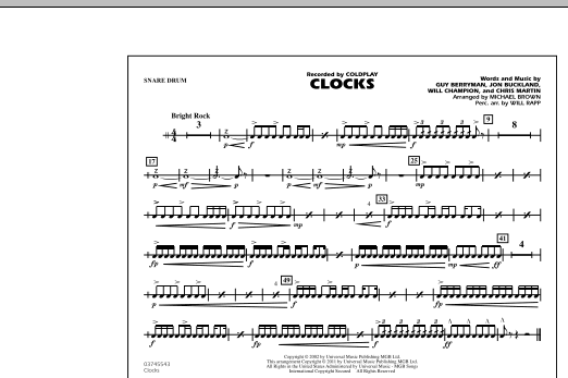 Clocks - Snare Drum (Marching Band)