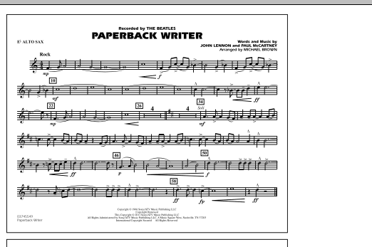 Paperback Writer - Eb Alto Sax (Marching Band)