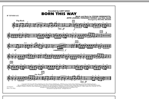 Born This Way - Bb Tenor Sax (Marching Band)