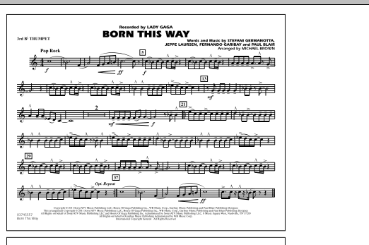 Born This Way - 3rd Bb Trumpet (Marching Band)