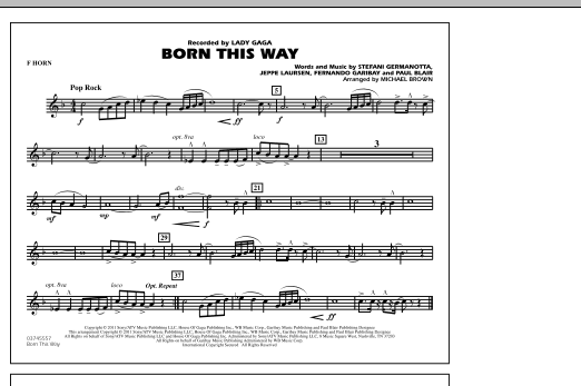 Born This Way - F Horn (Marching Band)