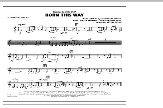 Born This Way - Bb Horn/Flugelhorn (Marching Band)