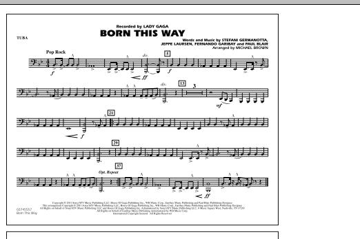Born This Way - Tuba (Marching Band)