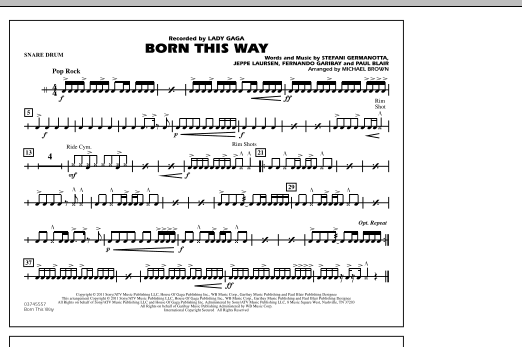 Born This Way - Snare Drum (Marching Band)