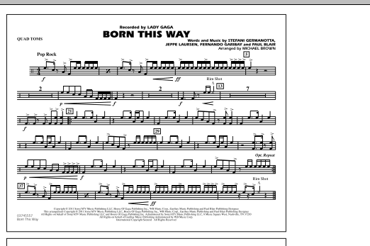 Born This Way - Quad Toms (Marching Band)