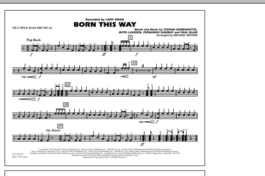 Born This Way - Multiple Bass Drums (Marching Band)