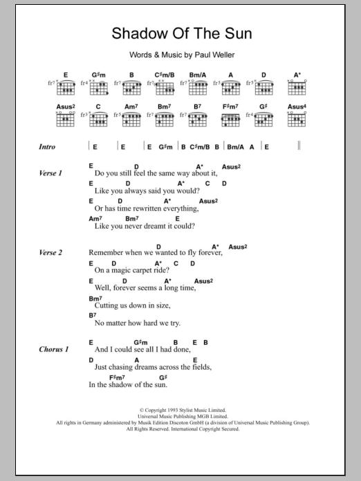 Shadow Of The Sun By Paul Weller Guitar Chordslyrics Guitar
