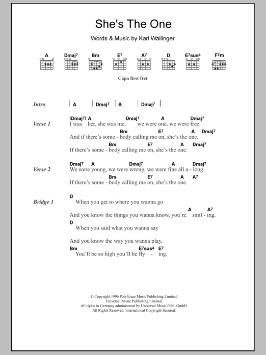 She\'s The One by Robbie Williams - Guitar Chords/Lyrics - Guitar ...