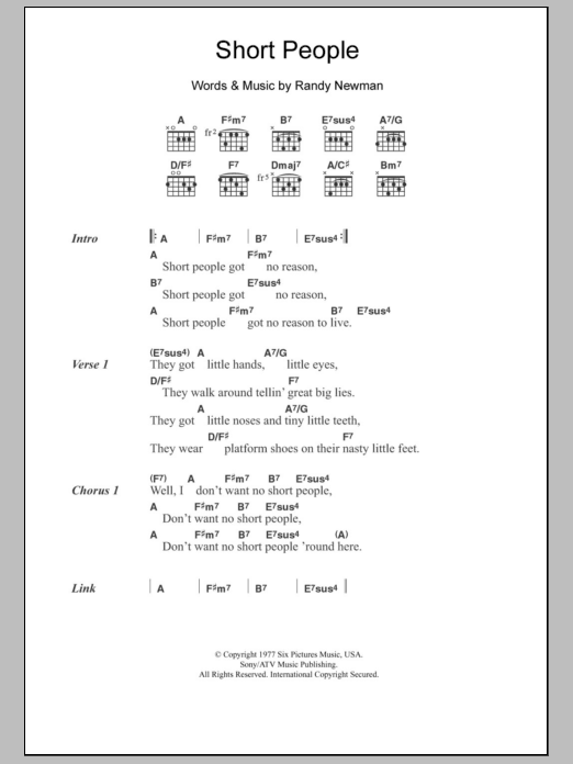 Short People By Randy Newman Guitar Chordslyrics Guitar Instructor