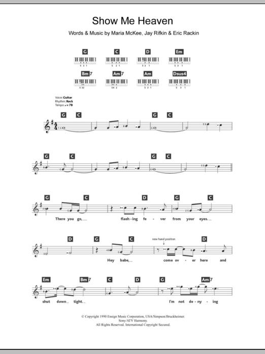 Show Me Heaven Sheet Music