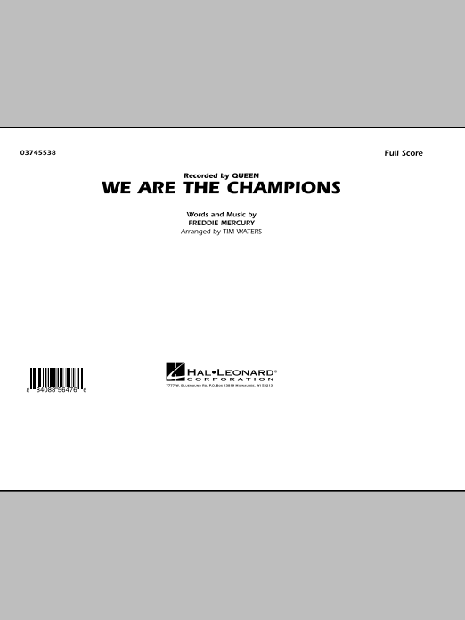 We Are The Champions (COMPLETE) sheet music for marching band by Tim Waters, Freddie Mercury and Queen. Score Image Preview.