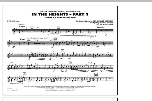 In The Heights: Part 1 - Bb Tenor Sax (Marching Band)