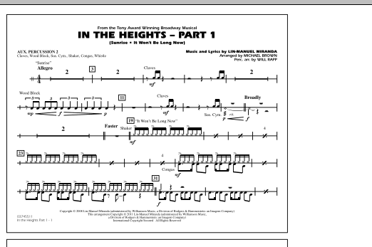 In The Heights: Part 1 - Aux. Percussion 2 (Marching Band)