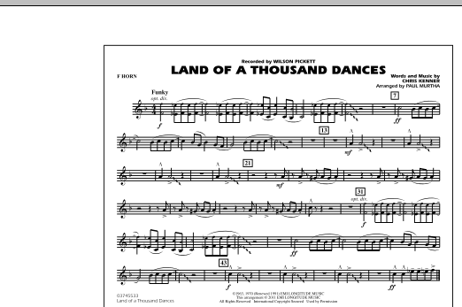 Land Of A Thousand Dances - F Horn (Marching Band)