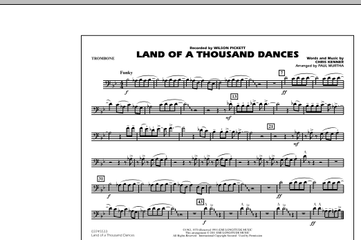 Land Of A Thousand Dances - Trombone (Marching Band)