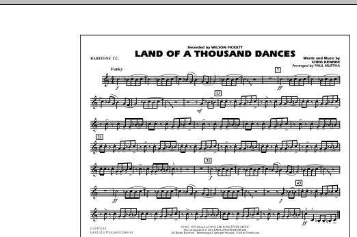 Land Of A Thousand Dances - Baritone T.C. (Marching Band)